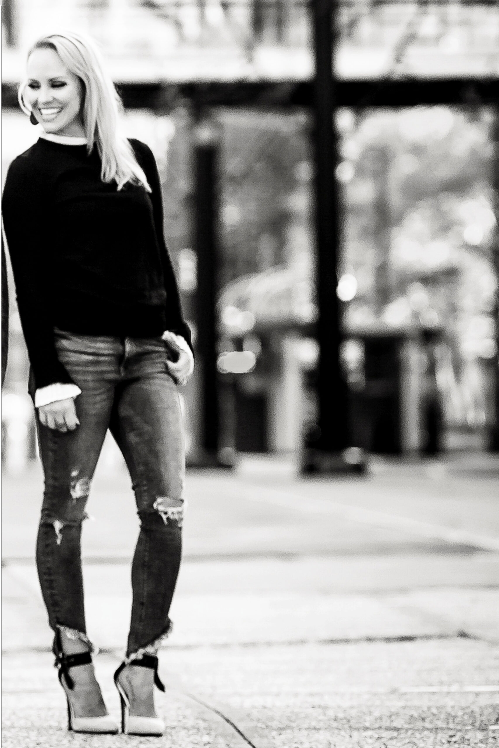 Sandra in black and white